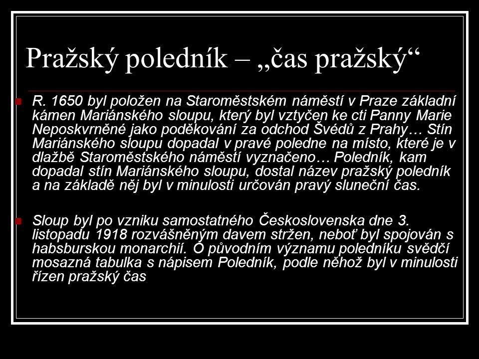 """Pražský poledník – """"čas pražský"""