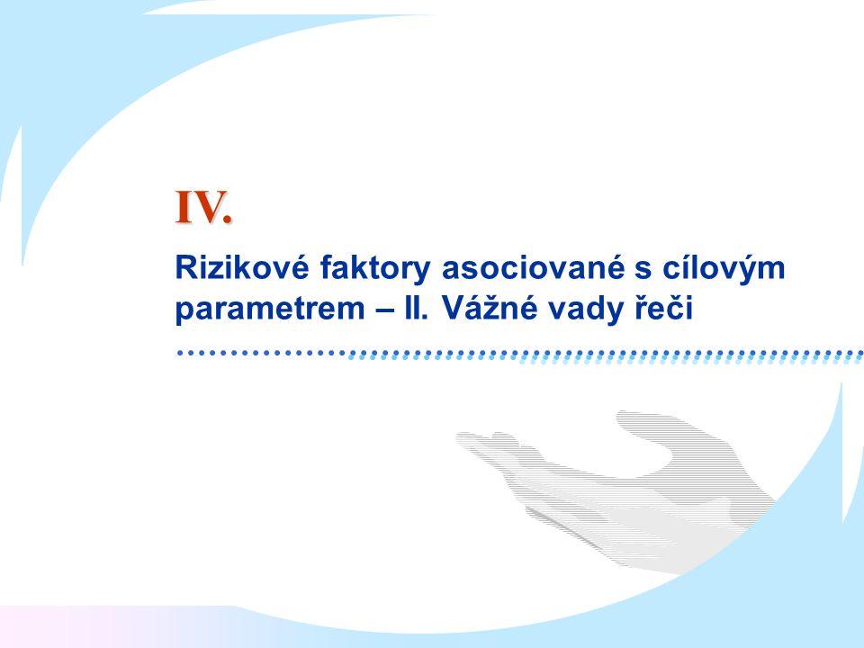 IV. Rizikové faktory asociované s cílovým parametrem – II. Vážné vady řeči