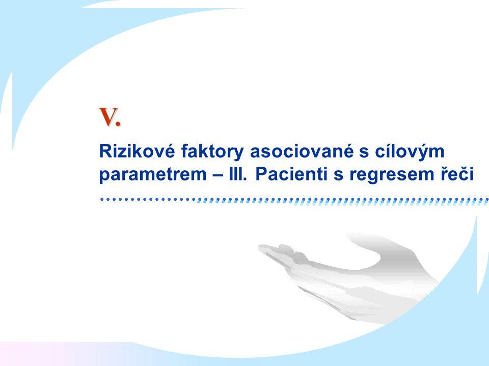 V. Rizikové faktory asociované s cílovým parametrem – III. Pacienti s regresem řeči