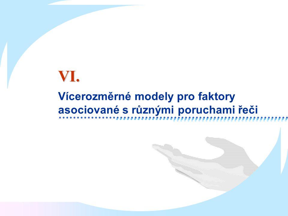 VI. Vícerozměrné modely pro faktory asociované s různými poruchami řeči