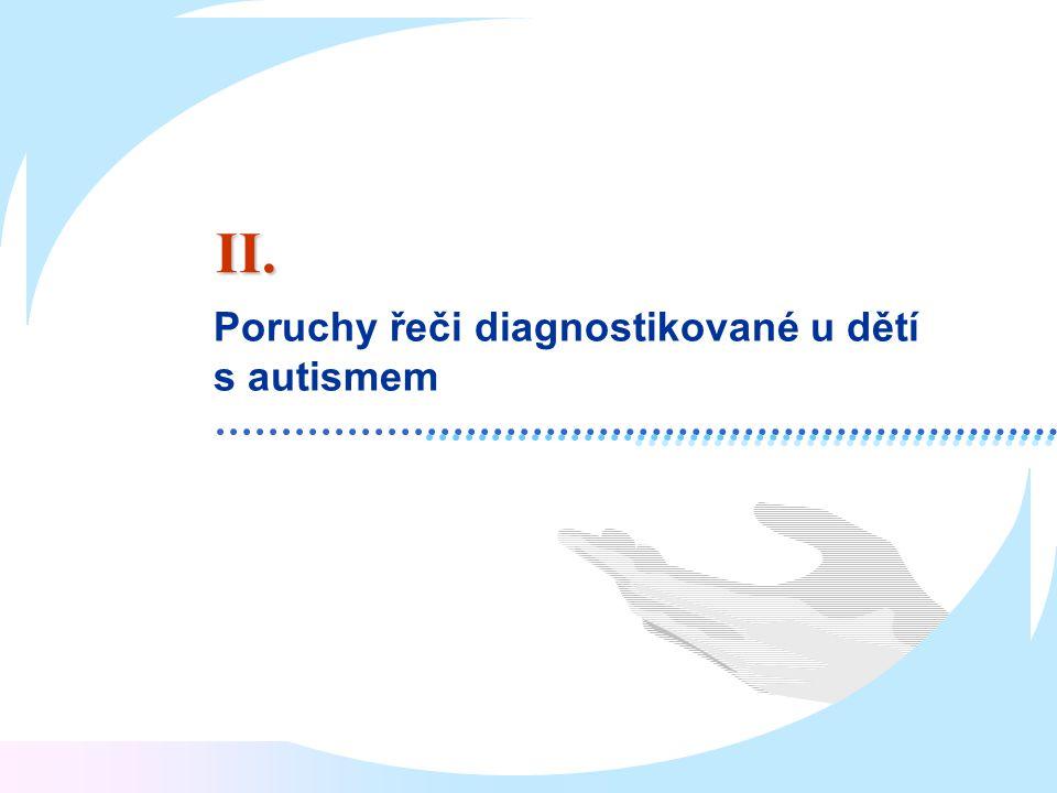 II. Poruchy řeči diagnostikované u dětí s autismem