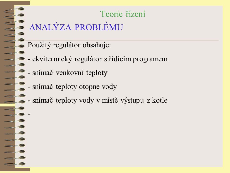 Teorie řízení ANALÝZA PROBLÉMU Použitý regulátor obsahuje: