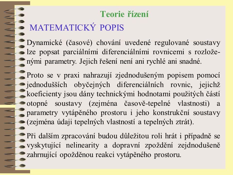 Teorie řízení MATEMATICKÝ POPIS