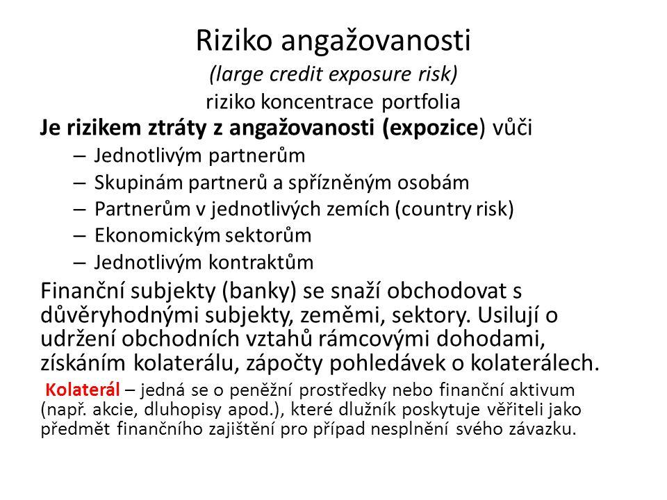 Riziko angažovanosti (large credit exposure risk) riziko koncentrace portfolia