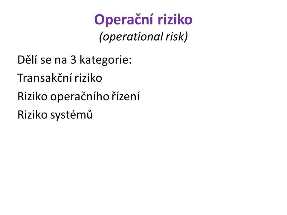 Operační riziko (operational risk)