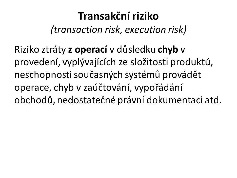 Transakční riziko (transaction risk, execution risk)
