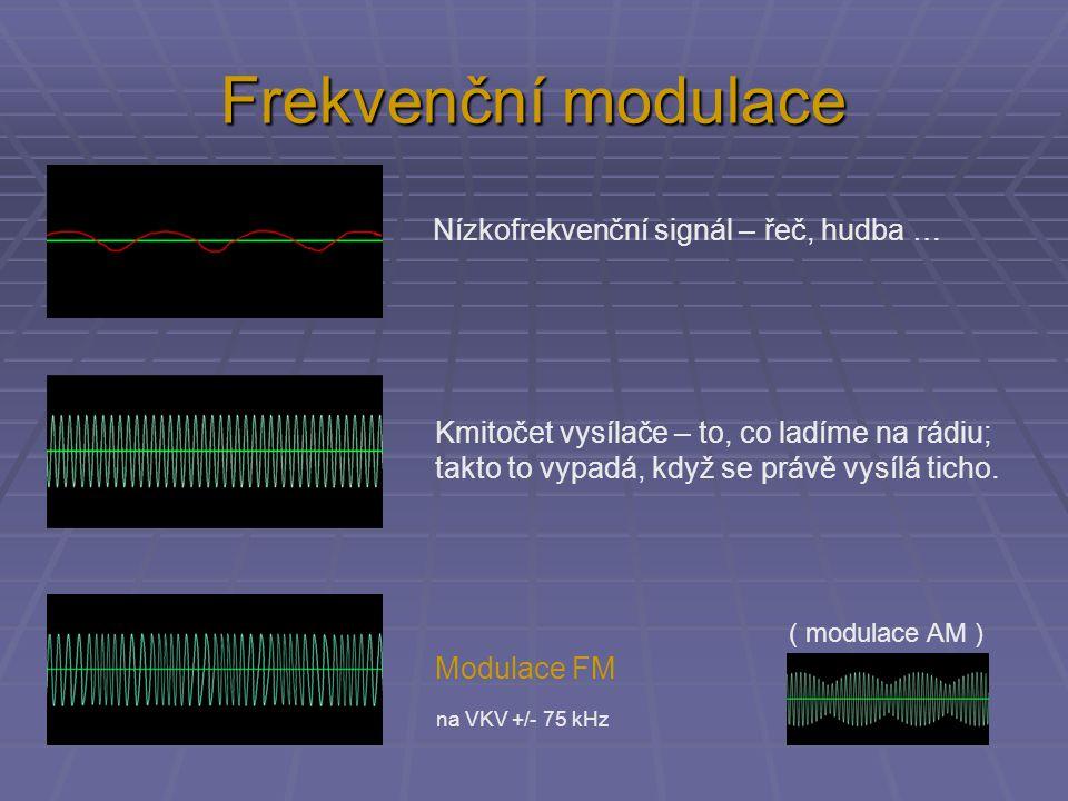 Frekvenční modulace Nízkofrekvenční signál – řeč, hudba …