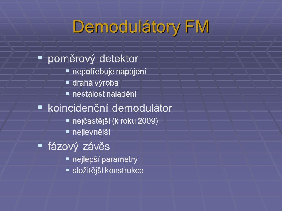 Demodulátory FM poměrový detektor koincidenční demodulátor