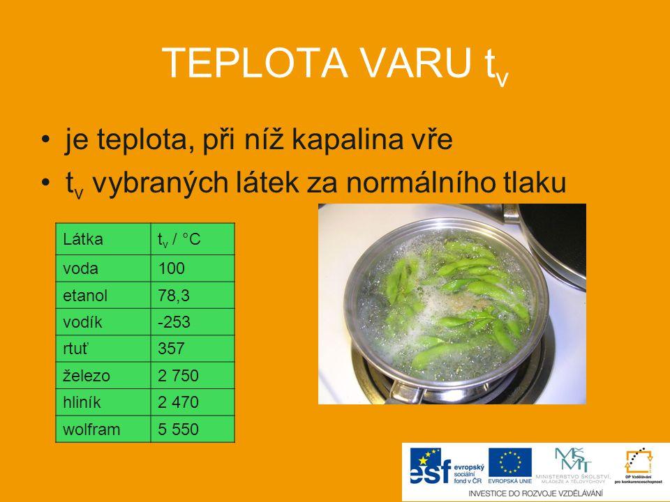 TEPLOTA VARU tv je teplota, při níž kapalina vře