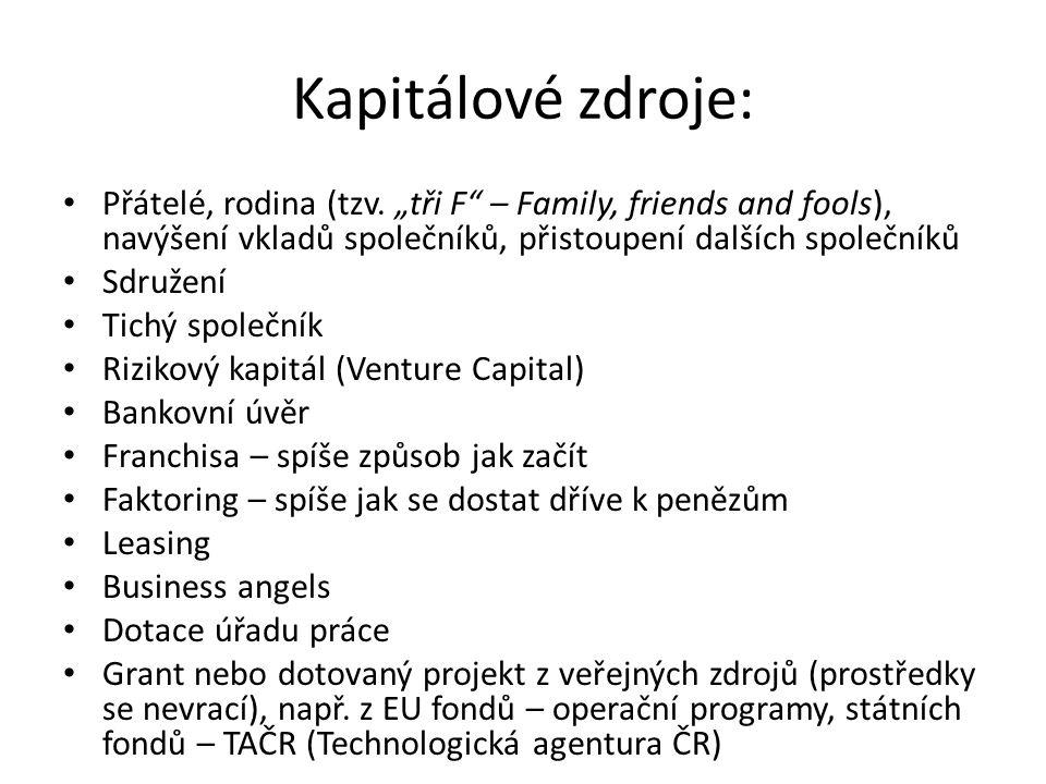 """Kapitálové zdroje: Přátelé, rodina (tzv. """"tři F – Family, friends and fools), navýšení vkladů společníků, přistoupení dalších společníků."""