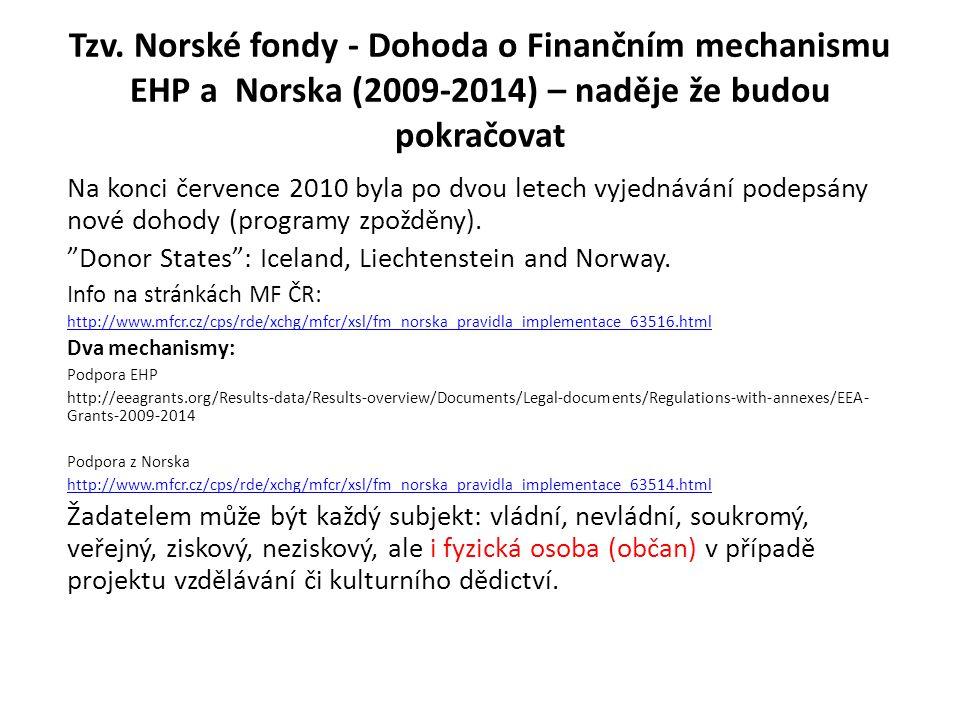 Tzv. Norské fondy - Dohoda o Finančním mechanismu EHP a Norska (2009-2014) – naděje že budou pokračovat