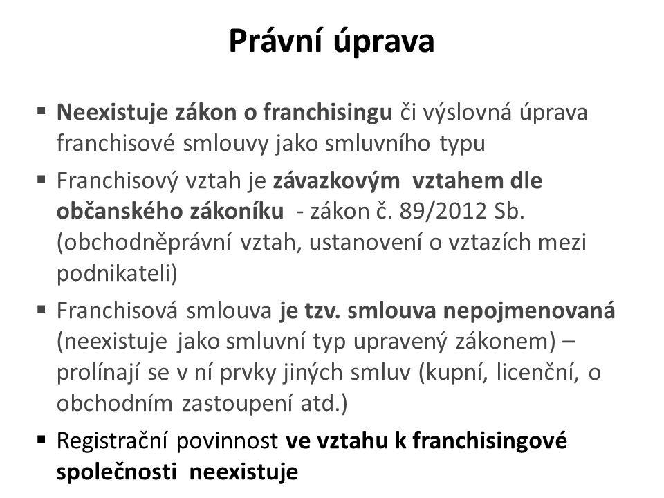 Date Právní úprava. Neexistuje zákon o franchisingu či výslovná úprava franchisové smlouvy jako smluvního typu.