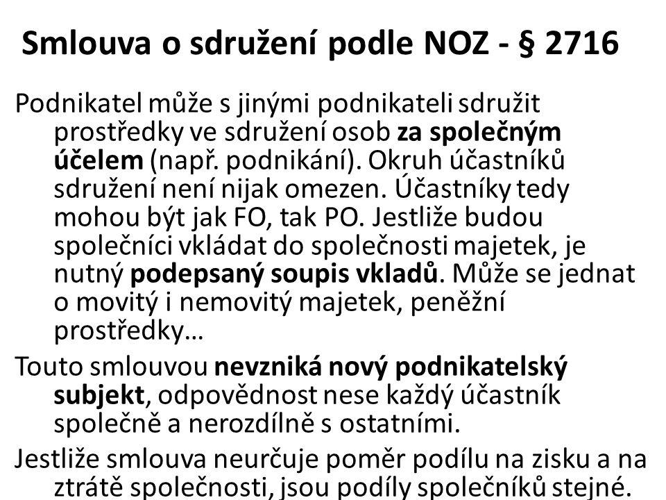 Smlouva o sdružení podle NOZ - § 2716