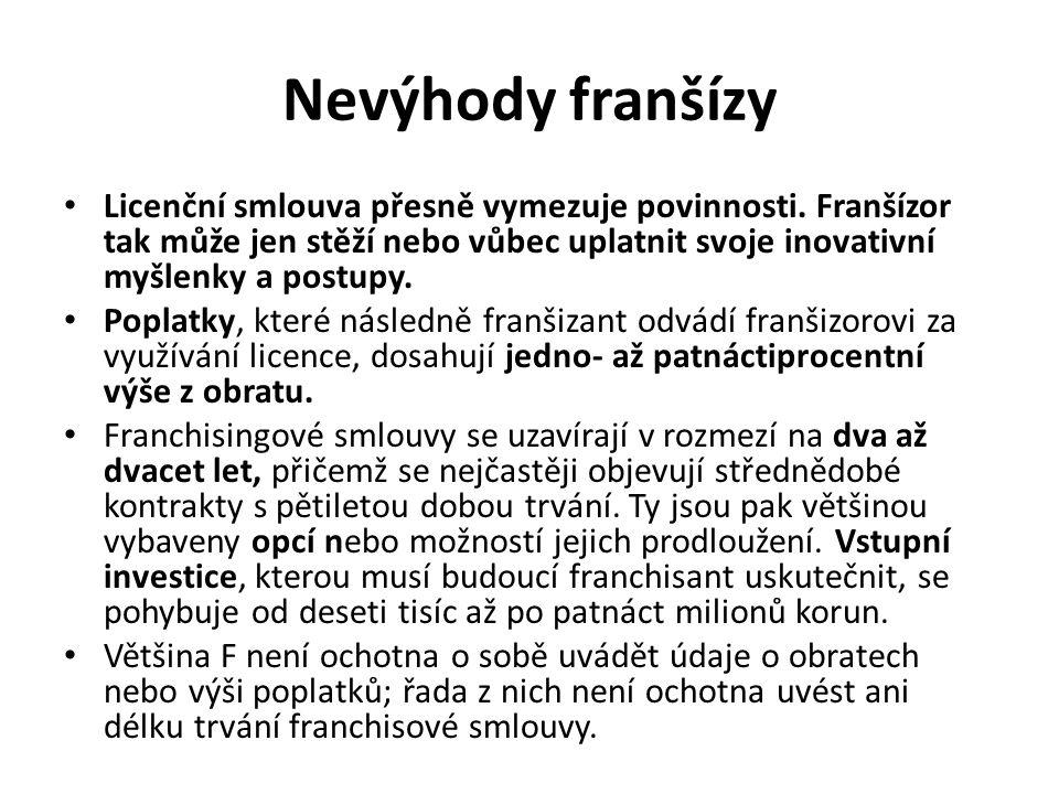 Nevýhody franšízy Licenční smlouva přesně vymezuje povinnosti. Franšízor tak může jen stěží nebo vůbec uplatnit svoje inovativní myšlenky a postupy.