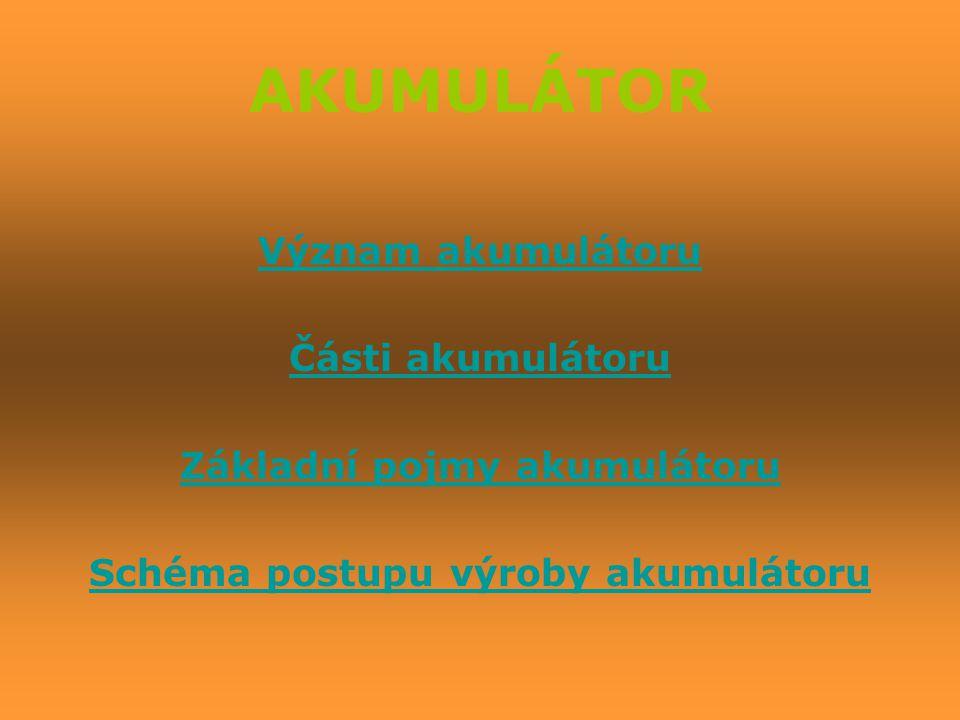 Základní pojmy akumulátoru Schéma postupu výroby akumulátoru