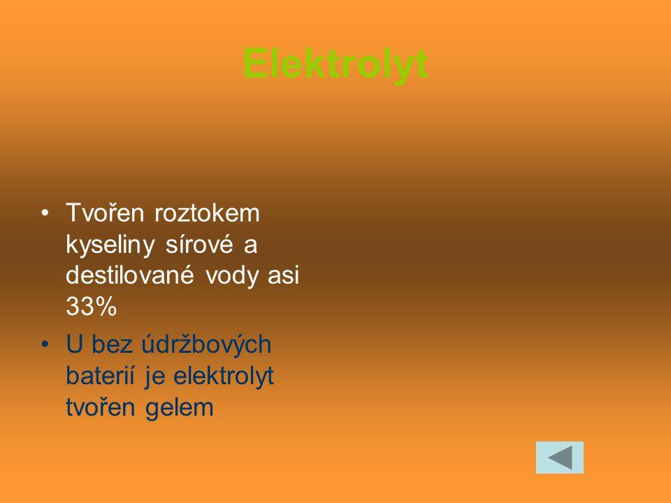 Elektrolyt Tvořen roztokem kyseliny sírové a destilované vody asi 33%