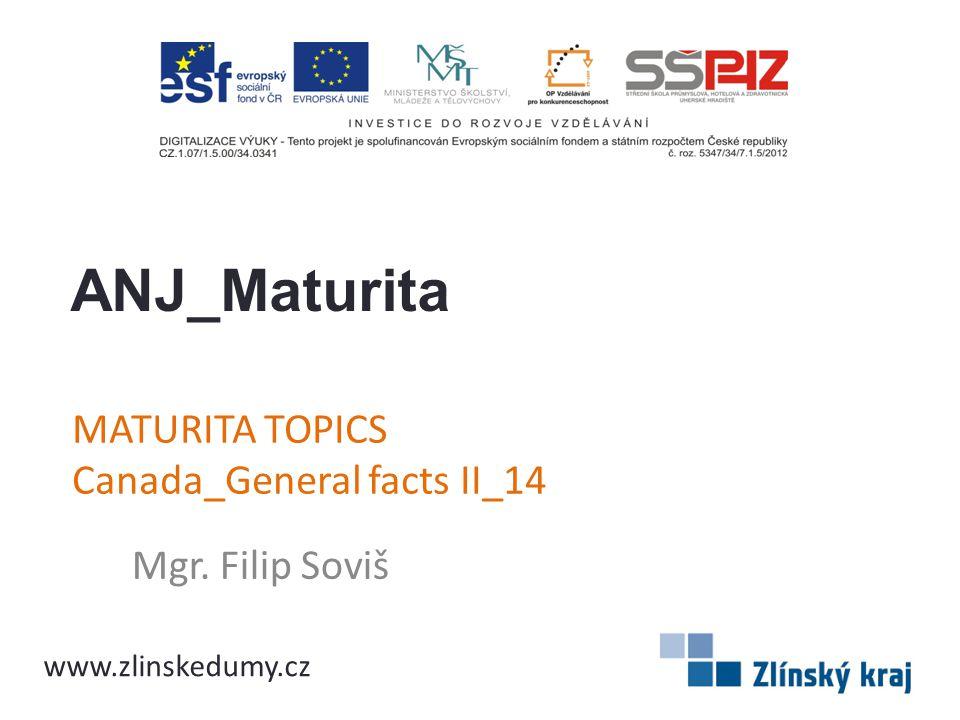 MATURITA TOPICS Canada_General facts II_14