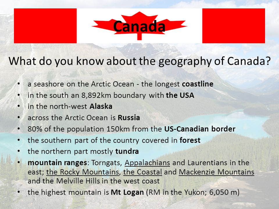 What do you know about the geography of Canada