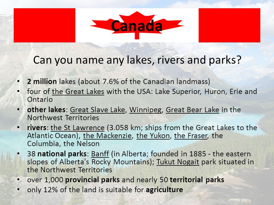 Can you name any lakes, rivers and parks