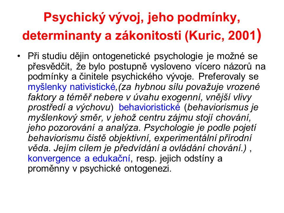 Psychický vývoj, jeho podmínky, determinanty a zákonitosti (Kuric, 2001)