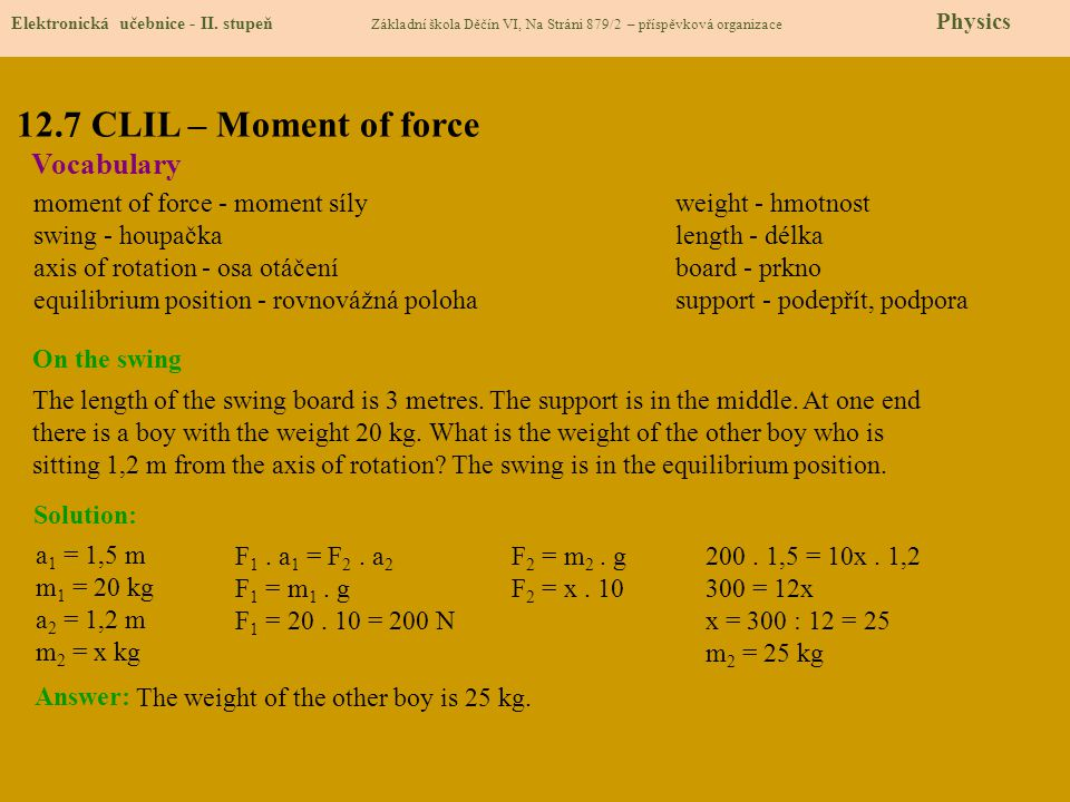 12.7 CLIL – Moment of force Vocabulary