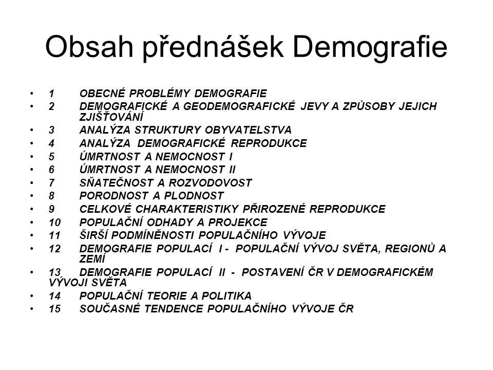 Obsah přednášek Demografie