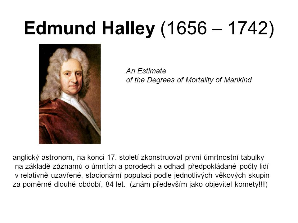 Edmund Halley (1656 – 1742) An Estimate
