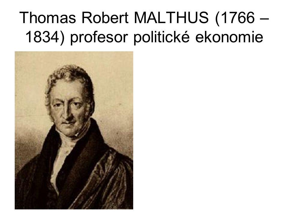 Thomas Robert MALTHUS (1766 – 1834) profesor politické ekonomie