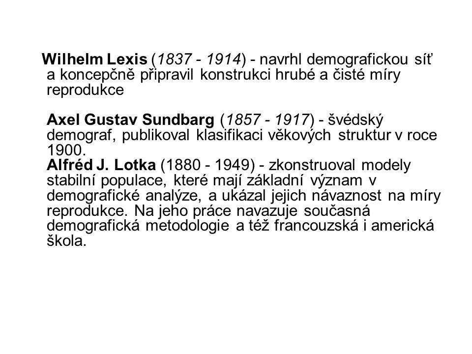 Wilhelm Lexis (1837 - 1914) - navrhl demografickou síť a koncepčně připravil konstrukci hrubé a čisté míry reprodukce Axel Gustav Sundbarg (1857 - 1917) - švédský demograf, publikoval klasifikaci věkových struktur v roce 1900.