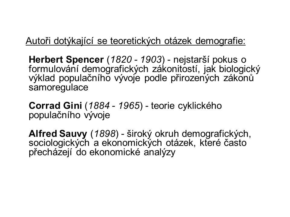 Autoři dotýkající se teoretických otázek demografie: Herbert Spencer (1820 - 1903) - nejstarší pokus o formulování demografických zákonitostí, jak biologický výklad populačního vývoje podle přirozených zákonů samoregulace Corrad Gini (1884 - 1965) - teorie cyklického populačního vývoje Alfred Sauvy (1898) - široký okruh demografických, sociologických a ekonomických otázek, které často přecházejí do ekonomické analýzy