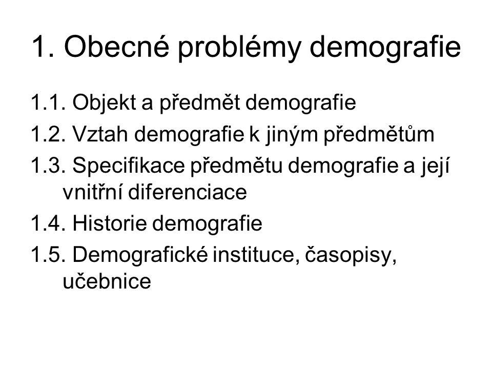 1. Obecné problémy demografie