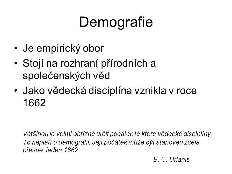 Demografie Je empirický obor