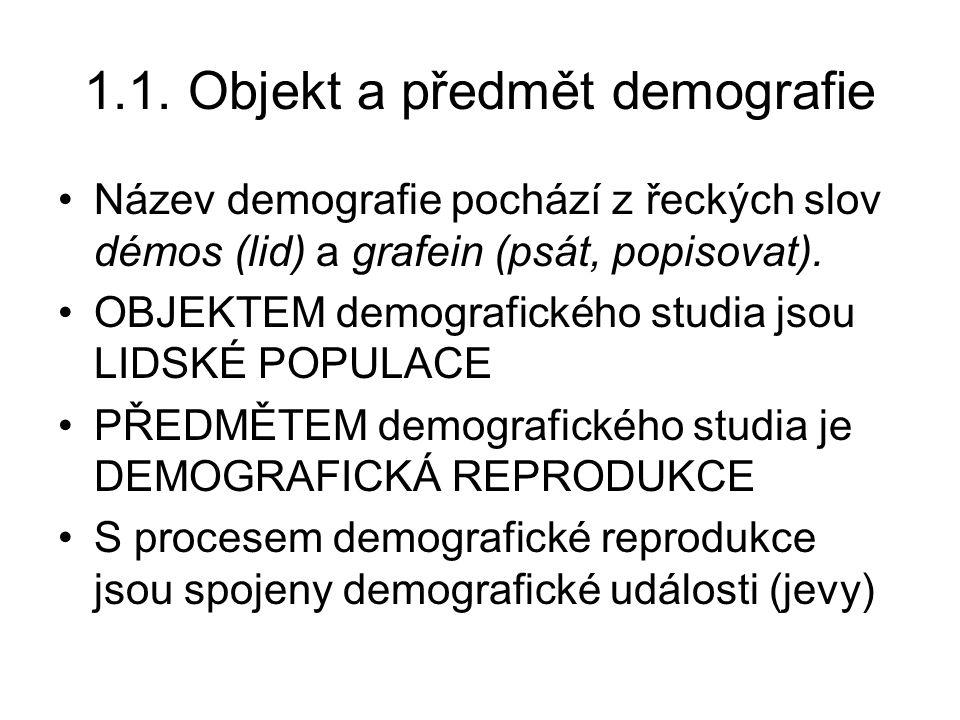 1.1. Objekt a předmět demografie