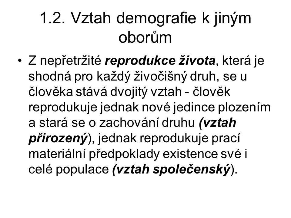 1.2. Vztah demografie k jiným oborům