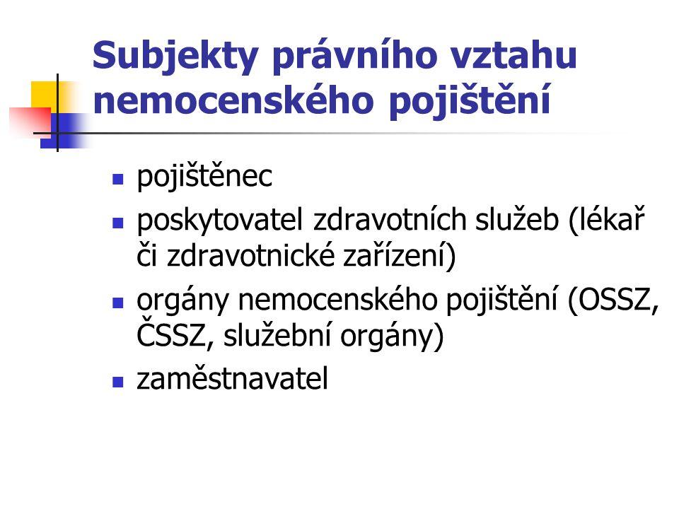 Subjekty právního vztahu nemocenského pojištění