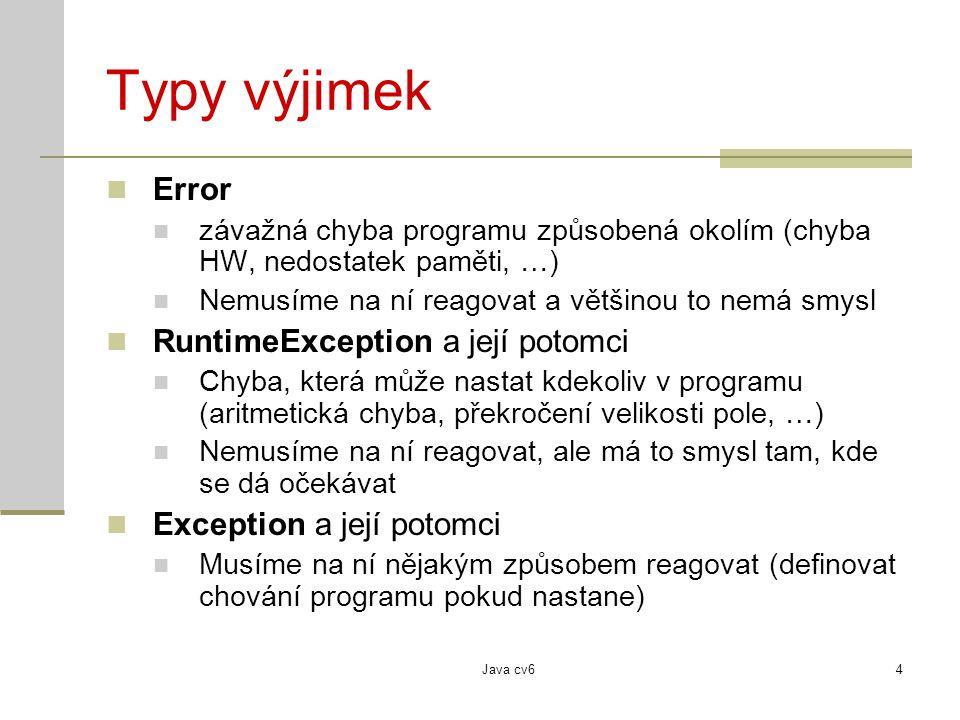 Typy výjimek Error RuntimeException a její potomci