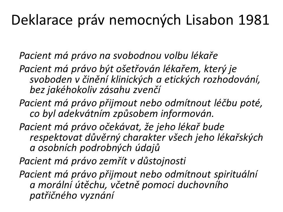 Deklarace práv nemocných Lisabon 1981