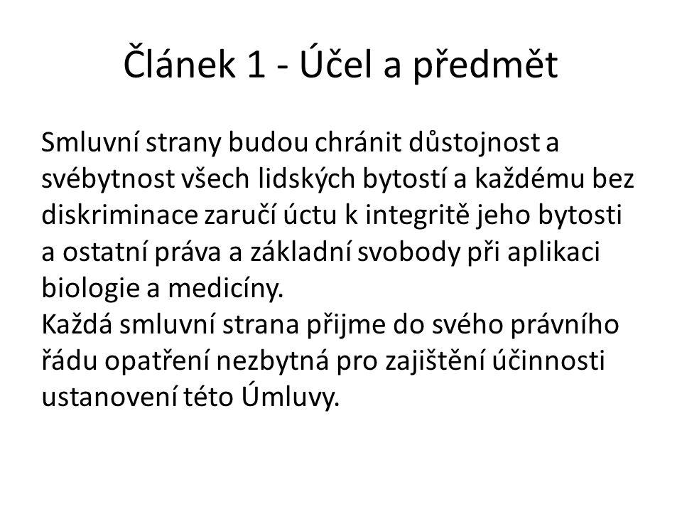 Článek 1 - Účel a předmět