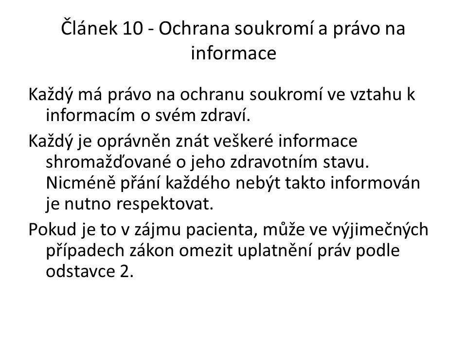 Článek 10 - Ochrana soukromí a právo na informace
