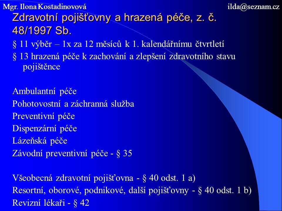 Zdravotní pojišťovny a hrazená péče, z. č. 48/1997 Sb.