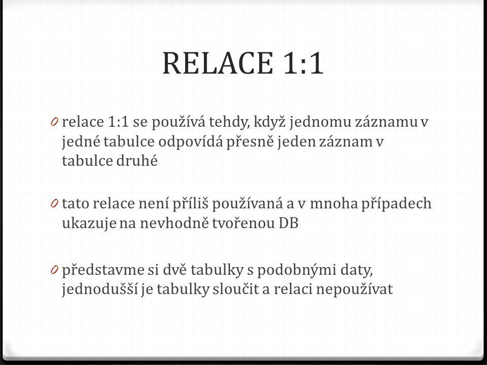 RELACE 1:1 relace 1:1 se používá tehdy, když jednomu záznamu v jedné tabulce odpovídá přesně jeden záznam v tabulce druhé.