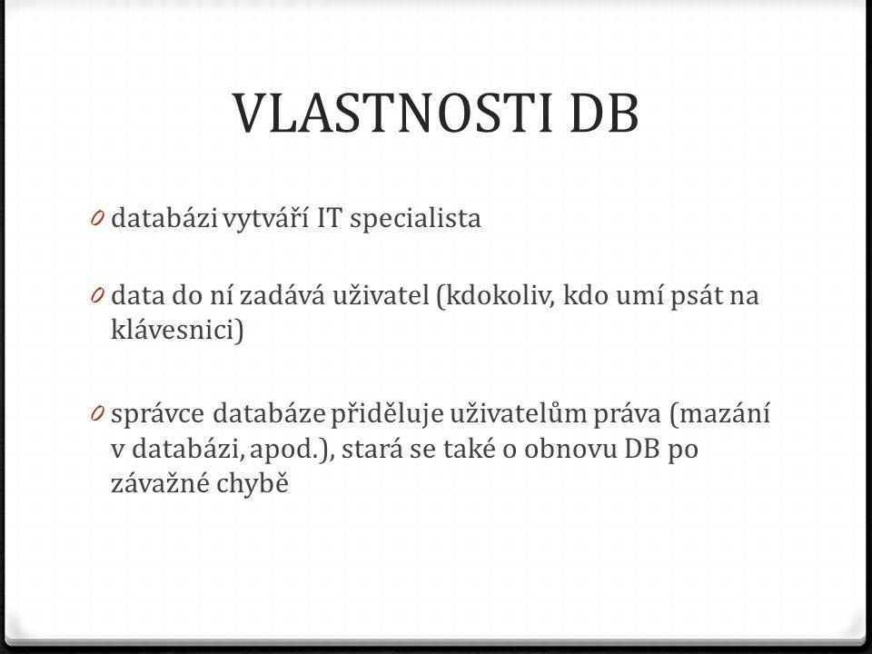 VLASTNOSTI DB databázi vytváří IT specialista