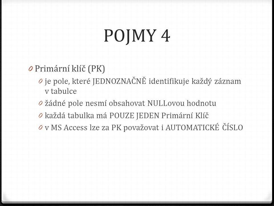 POJMY 4 Primární klíč (PK)