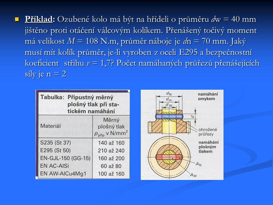 Příklad: Ozubené kolo má být na hřídeli o průměru dw = 40 mm jištěno proti otáčení válcovým kolíkem.
