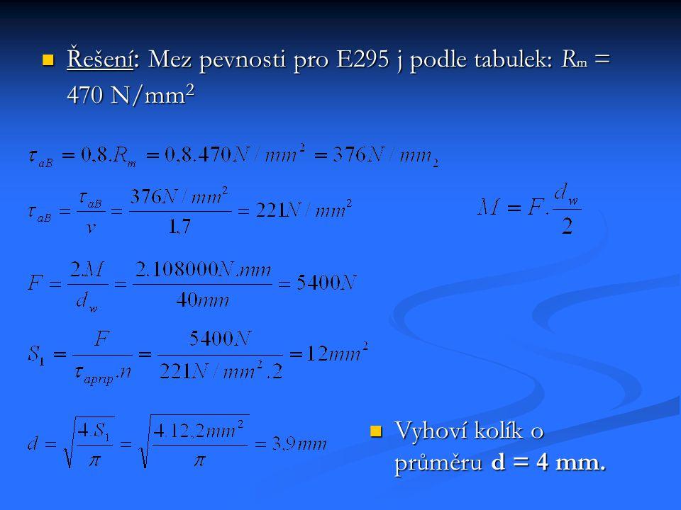 Řešení: Mez pevnosti pro E295 j podle tabulek: Rm = 470 N/mm2