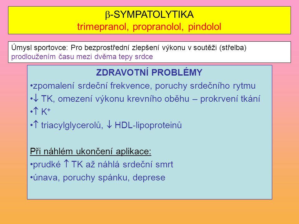 -SYMPATOLYTIKA trimepranol, propranolol, pindolol