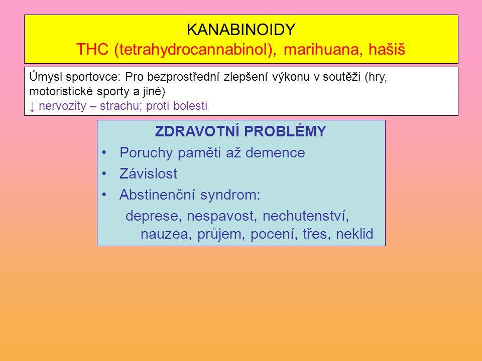 KANABINOIDY THC (tetrahydrocannabinol), marihuana, hašiš
