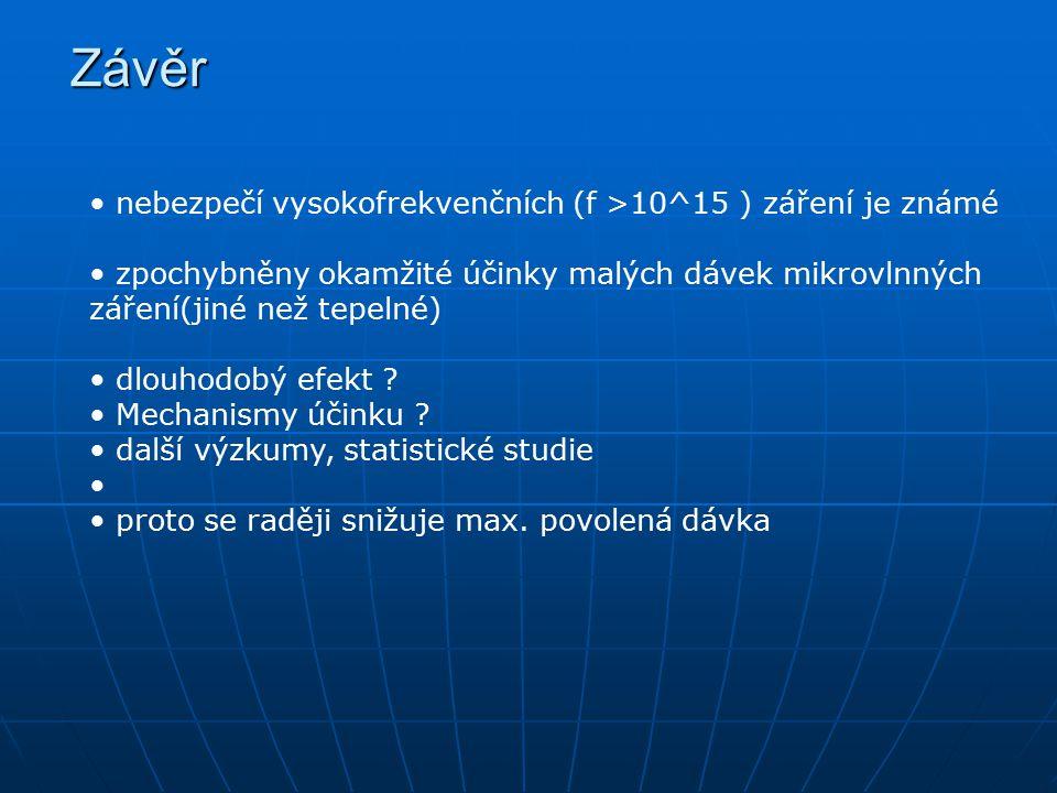 Závěr nebezpečí vysokofrekvenčních (f >10^15 ) záření je známé