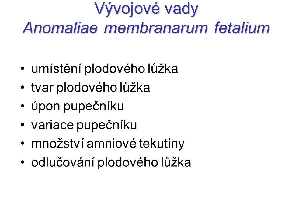Vývojové vady Anomaliae membranarum fetalium