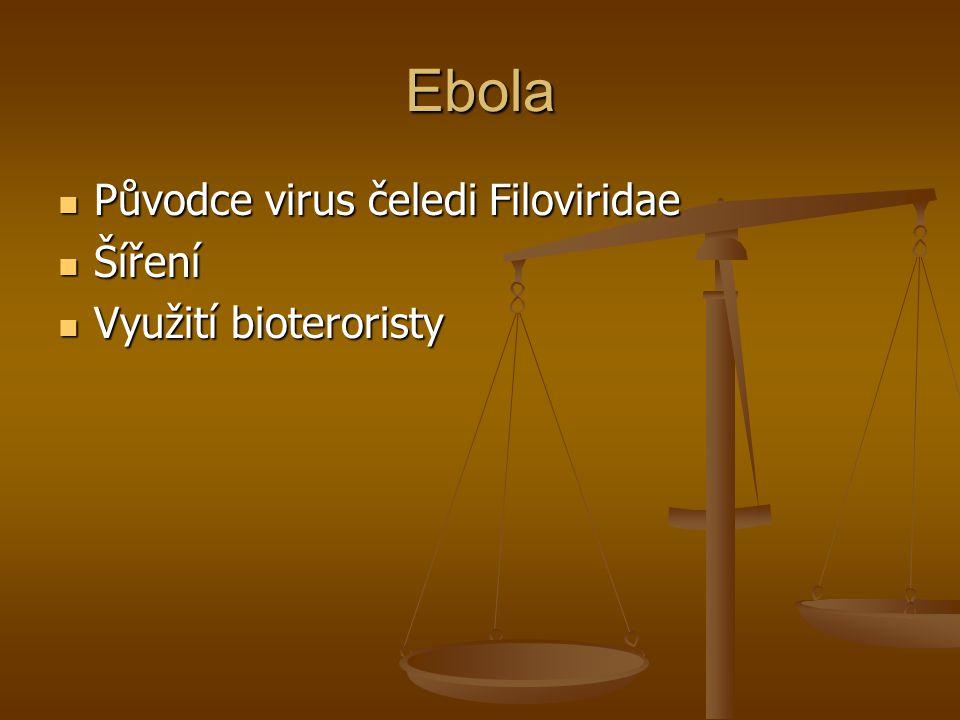 Ebola Původce virus čeledi Filoviridae Šíření Využití bioteroristy